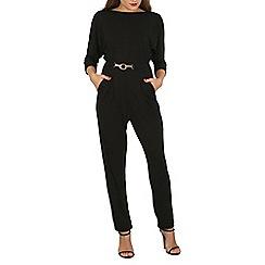 Mela - Black belted jumpsuit