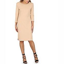 Indulgence - Beige midi side split dress