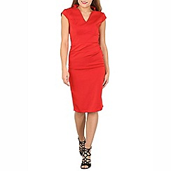 Jolie Moi - Red v neck ruched bodycon dress