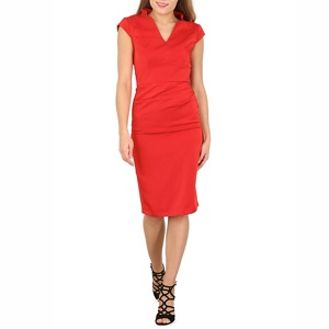 Plus Size Jolie Moi Red V Neck Ruched Bodycon Dress