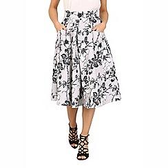 Jolie Moi - Grey floral print 50s a-line skirt