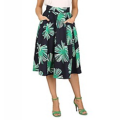 Jolie Moi - Dark blue floral print 50s a-line skirt