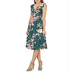 Jolie Moi - Dark green floral print fit & flare dress