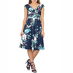 Jolie Moi - Navy floral print fit & flare dress