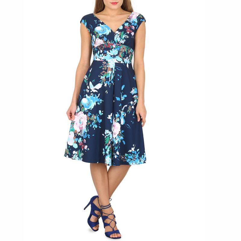Jolie Moi Navy floral print fit and flare dress