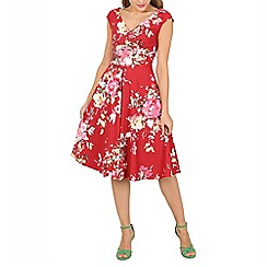 Jolie Moi - Dark red floral print fit & flare dress