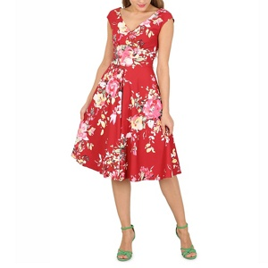 Jolie Moi Dark red floral print fit & flare dress