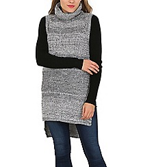Izabel London - Grey sleeveless turtle neck knitted pullover