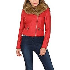 Izabel London - Red faux fur collar biker jacket