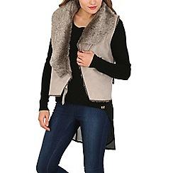 Izabel London - Beige faux fur collar wrap jacket