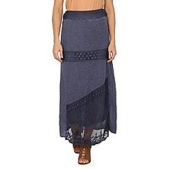 Izabel London - Blue long maxi skirt with lace detail