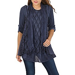 Izabel London - Blue long sleeve two in one tunic top