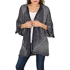Izabel London - Navy kimono sleeve two tone cardigan
