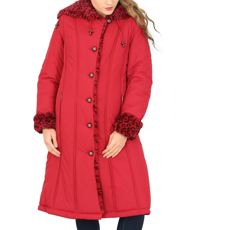 Plus Size David Barry Red Ladies Faux Fur Trimmed Raincoat,