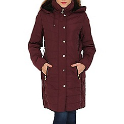 David Barry - Plum faux down quilted jacket