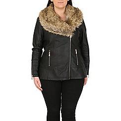 Samya - Black faux fur trim leather jacket