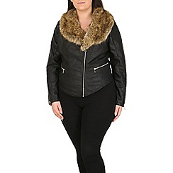 Samya - Black faux fur collar leather jacket