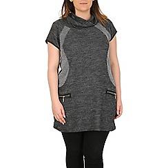 Samya - Grey knitted dress with zips