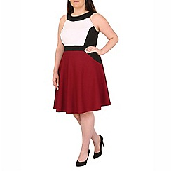 Samya - Wine colour block skater dress