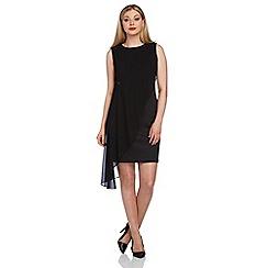 Roman Originals - Black asymmetric chiffon overlay dress