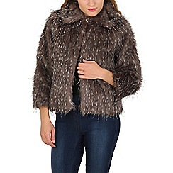 Mela - Grey speckled faux fur jacket