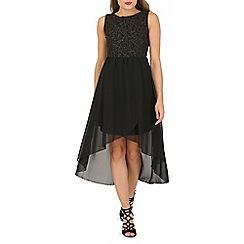 Mela - Black flower tim high low dress
