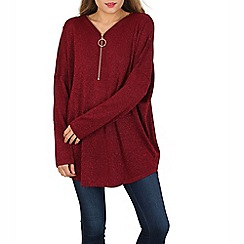 Blue Vanilla - Dark red metallic zip neck  jumper