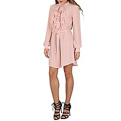 Lili London - Beige cindy frill shirt dress