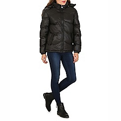 David Barry - Near black fur hood quilted jacket