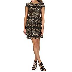 Mela - Black cap sleeve lace dress