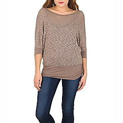 Izabel London - Brown embossed jersey top