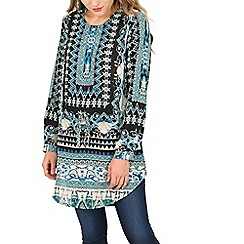 Izabel London - Green aztec print tunic top