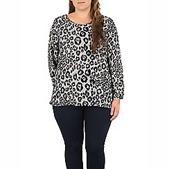 Samya - Grey leopard print split top