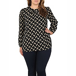 Samya - Navy geometric print top