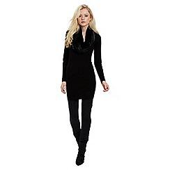 Jane Norman - Black fur cowl tunic jumper