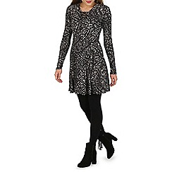 Voulez Vous - Black lace up swing dress