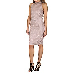 Voulez Vous - Light pink high neck textured pencil dress