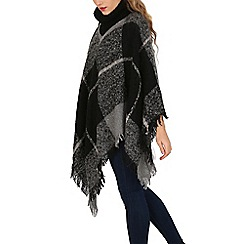 Apricot - Grey checked roll neck poncho