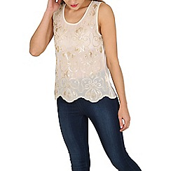 Tenki - Cream embroidered party top