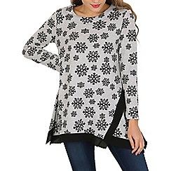 Tenki - Grey floral pattern jumper