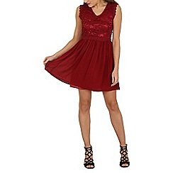Tenki - Dark red lace top fit & flare dress