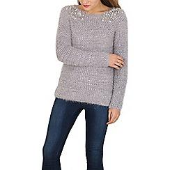 Tenki - Silver eyelash knit jumper embellished with pearls