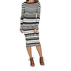 Blue Vanilla - Khaki rib striped crew neck dress