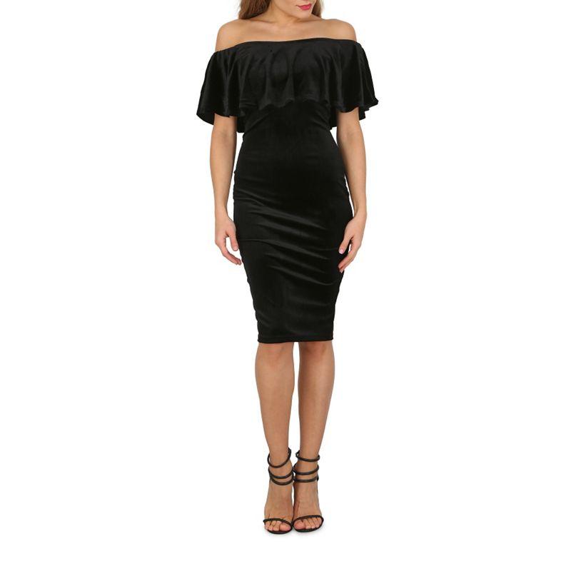 Blue Vanilla Black Velvet Ruffle Neck Bardot Dress, Womens,