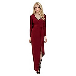 Jane Norman - Black red maxi wrap split dress