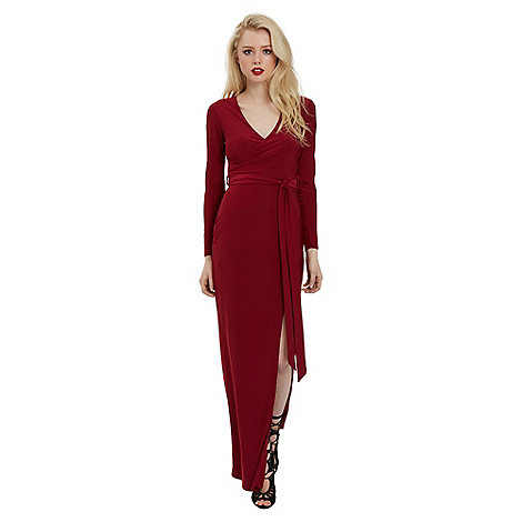 Jane Norman Red maxi wrap split dress | Debenhams