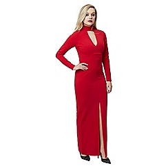 Jane Norman - Red red maxi choker long slv dress