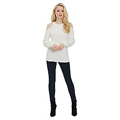 Jane Norman - Ivory cold shoulder fluffy jumper