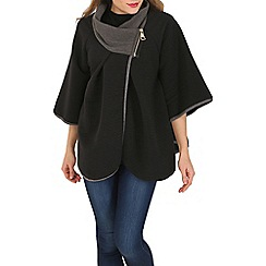 Izabel London - Black batwing ribbed poncho