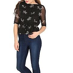 Cutie - Black horse print blouse